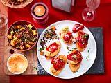 Obazda-Pintxos mit Linsen- und Süßkartoffel-Komparsen Rezept