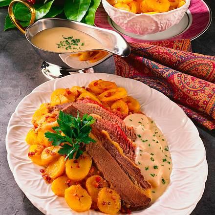 Ochsenbrust mit Meerrettichsoße und Bratkartoffeln Rezept