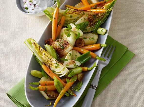 Ofen-Gemüse mit Radieschen-Quark Rezept