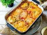 Ofen-Hähnchen in Paprika-Rahm Rezept