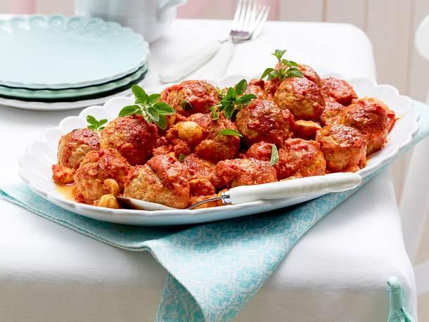 Ofen-Köttbullar in Tomaten-Champignon-Rahm Rezept