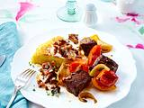 Ofen-Schaschlik mit Pfifferlingsrahm und Kartoffelrösti Rezept