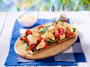 Ofenbaguette mit Hähnchenfleisch und Spinat Rezept