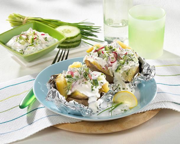 Ofenkartoffel mit Quarkdip Rezept