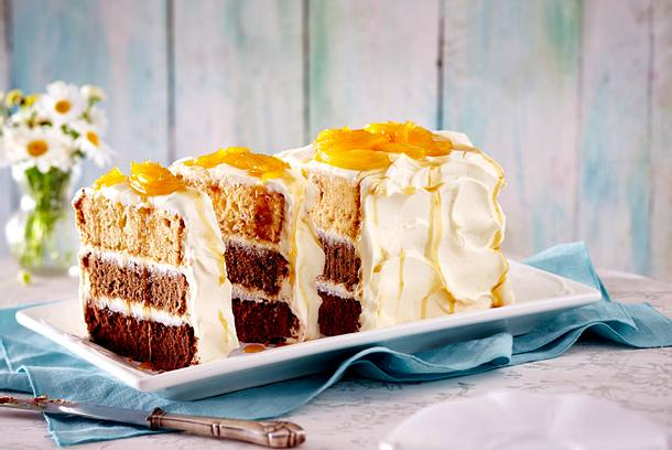Ombre Karamell-Kuchen mit Ananas Rezept