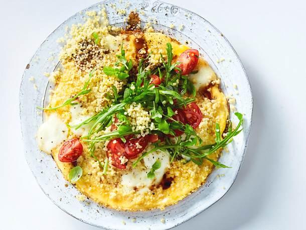 """Omelett """"Caprese"""" mit Hirsebiss Rezept"""