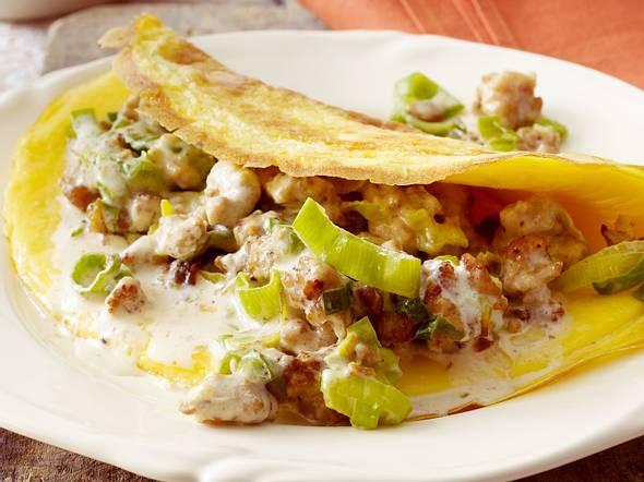 Omelett mit Hack-Porree-Füllung Rezept