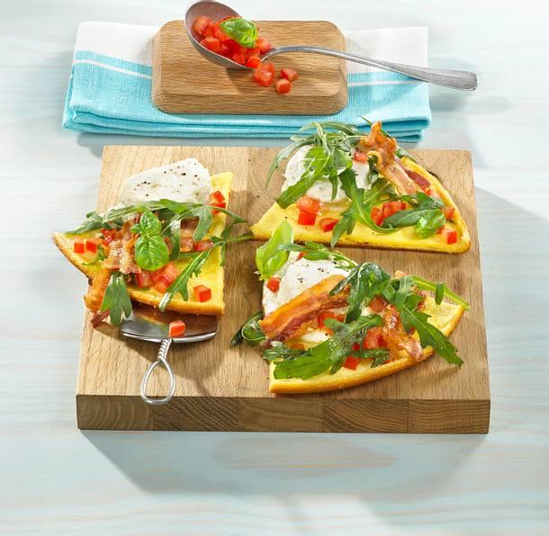 Omelett mit Ziegenkäse und Salat Rezept