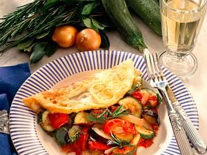 Omelette mit Ratatouille-Gemüse Rezept