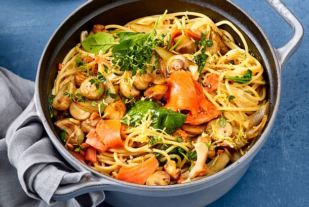 One Pot-Spaghetti mit Lachs Rezept