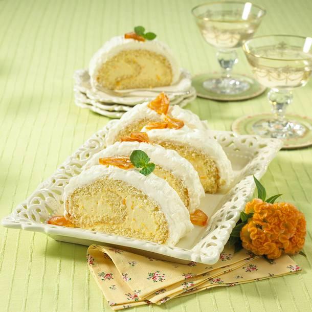 Orangen-Biskuitrolle Rezept