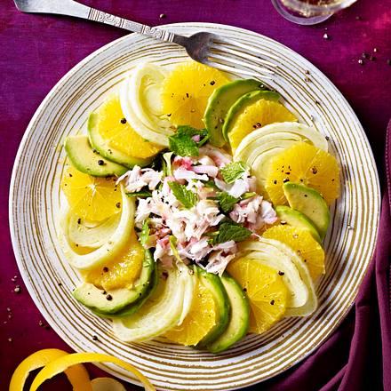Orangen-Fenchel-Avocado-Salat mit Krebsfleisch Rezept
