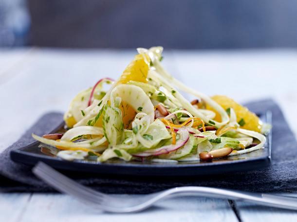 Orangen-Fenchel-Salat mit Honig-Senf-Vinaigrette Rezept