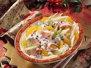 Orangen-Fenchel-Salat mit Pute Rezept