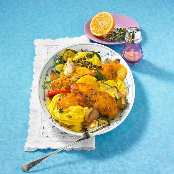 Orangen-Hähnchen mit Bandnudeln Rezept