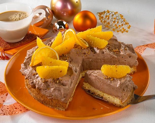 Orangen-Nougat-Krokanttorte Rezept