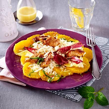 Orangen-Reis-Salat mit Chicorée und Hähnchenstreifen Rezept