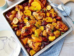 Orangenhähnchen vom Blech mit Chorizo Rezept