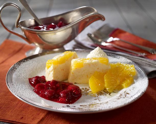 Orangenparfait mit heißen Himbeeren Rezept