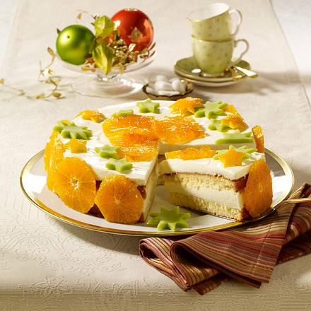 Orangentorte mit Quark-Schmand-Crème (Weihnachts-Deko) Rezept