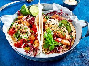 Orient-Tortillas mit Gewürzbohnen und Salat Rezept