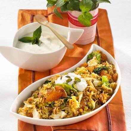 Orientalischer Reis mit Minzjoghurt Rezept