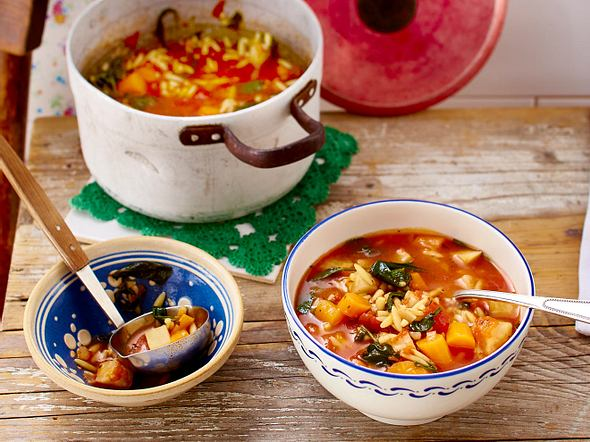 Orzo-Spinat-Suppe Rezept