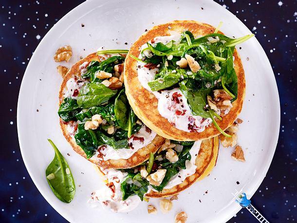 """La Le Lu""-Pancakes mit Spinatdecke Rezept"