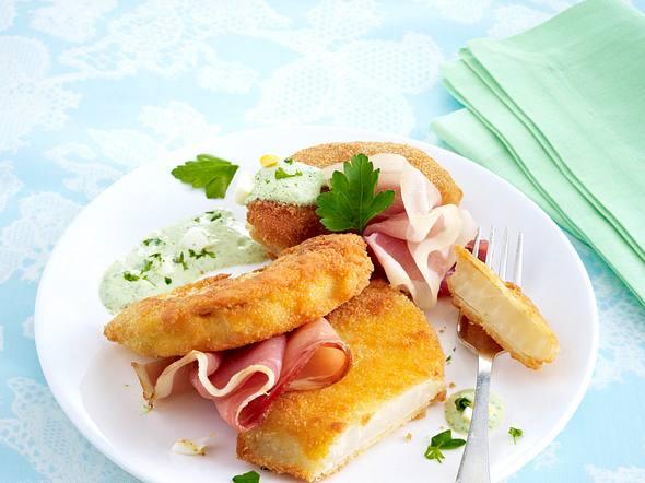 Panierter Kohlrabi mit Frankfurter grüner Soße und Schinken Rezept