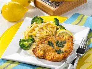 Paniertes Schweinesteak mit Broccoli (für 1 Person) Rezept