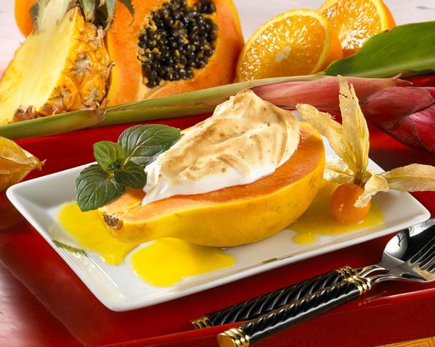 Papaya mit Baiserhaube und Orangensoße Rezept