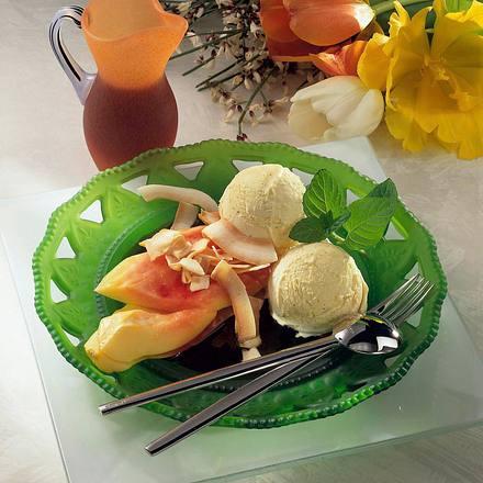 Papayaspalten und Vanilleeis Rezept