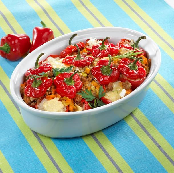 Paprika-Auflauf mit Bolognese-Soße Rezept