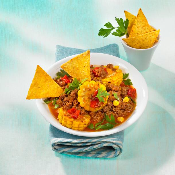 Paprika-Chili mit Chips Rezept