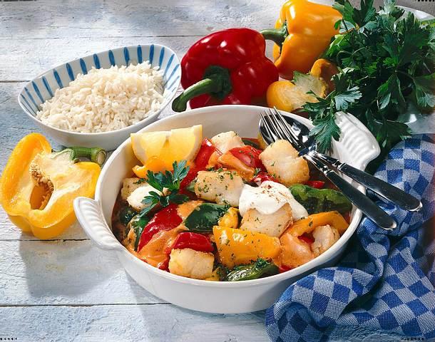 Paprika-Fisch-Pfanne mit Reis Rezept