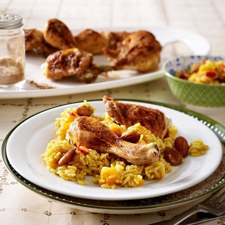 Paprika-Hähnchenkeulen zu indischem Reis Rezept