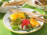 Paprika-Päckchen mit Basilikum-Vinaigrette Rezept