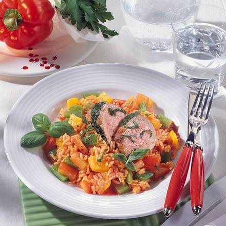 Paprika-Reis mit Schweinefilet Rezept