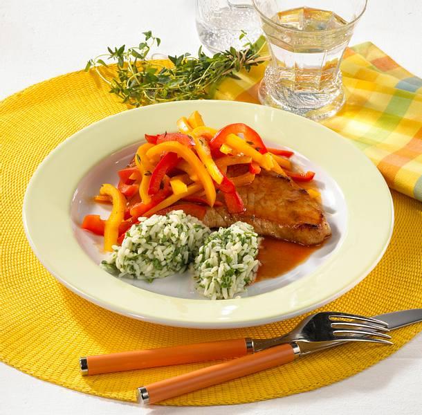 Paprika-Schnitzel mit Reis Rezept