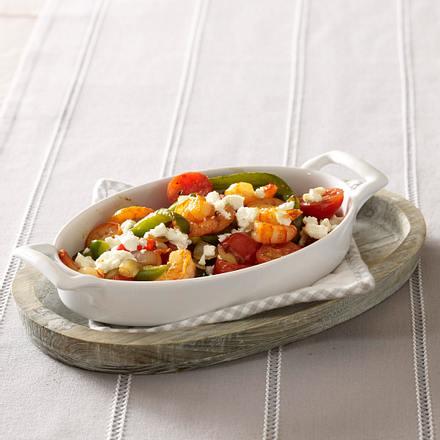 Paprika-Tomaten-Gratin mit Garnelen Rezept