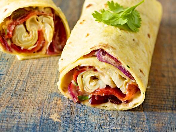 Paprika-Wrap mit Hummus Rezept
