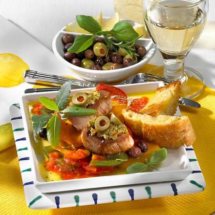Paprikagemüse & Filet mit Oliven Rezept