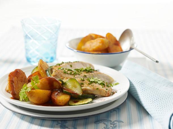 Paprikakartoffeln mit Hähnchen und Zucchini Rezept