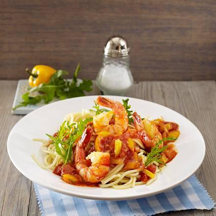 Pasta mit Garnelen und Paprikasoße Rezept