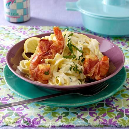 Pasta mit Zitronen-Mascarpone und Pancetta-Garnelen Rezept