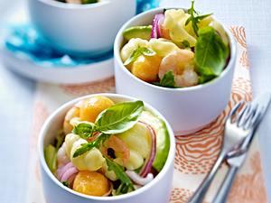 Pasta-Salat mit Garnelen, Honigmelone und Avocado Rezept