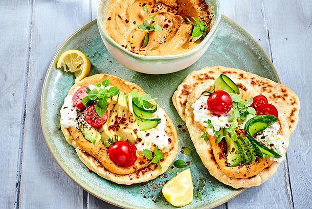 Pausen-Fladenbrot mit Hummus Rezept