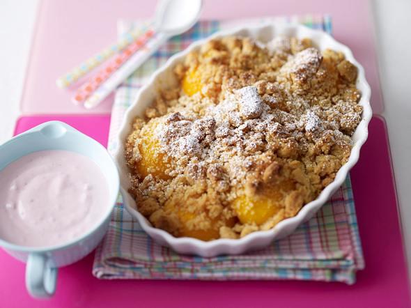 Peach-Cobbler (Pfirsich-Crumble mit Zimtstreuseln) Rezept