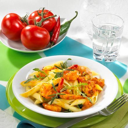 Penne mit scharfer Scampi-Tomatensoße Rezept