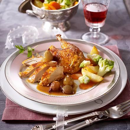 Perlhuhn in Madeira zu Röstkartoffel-Gemüse-Platte Rezept